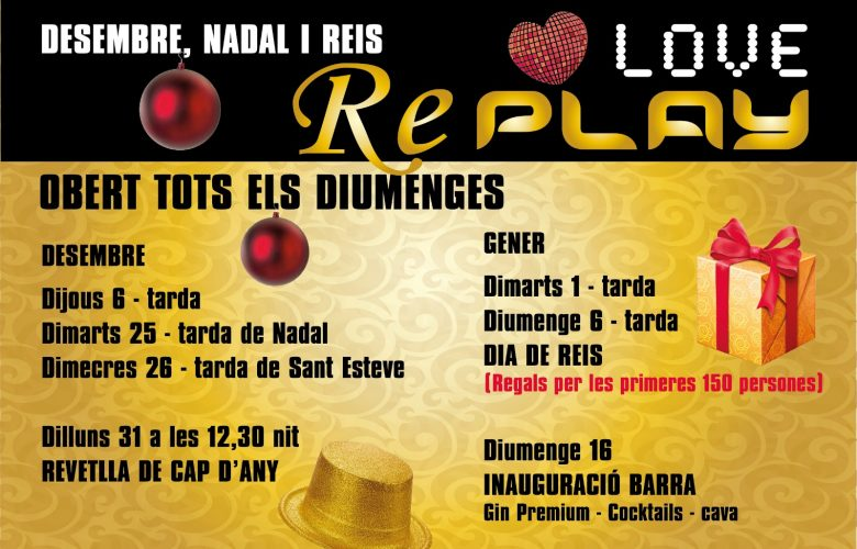 Diumenge 16-12 Tarda de ball a REPLAY, a ballar !!!…
